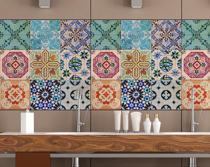 Portugese tegels Stickers Maceira - Pack van 16 tegels - tegel stickers kunst voor muren keuken backsplash badkamer
