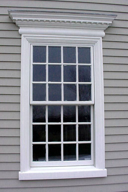 ordinary exterior window pediments #5: Classic colonial window style with denticulated pediment above