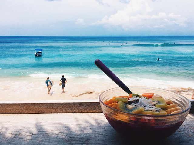 """Surf watching + Pitaya bowl = Perfect morning . . . #tb#lifeinbali#bingin#uluwatu#kellyswarung#breakfast#morning#surfwatch#smoothiebowl#pitayabowl#southside #sunnyday#backpacker#bebacksoon#sea#sky#surfer#uluwatu#igers#travelgram#beach#beachbums#balibible#balidaily#balibaby"" by @misspmk. #fslc #followshoutoutlikecomment #TagsForLikesFSLC #TagsForLikesApp #follow #shoutout #followme #comment #TagsForLikes #f4f #s4s #l4l #c4c #followback #shoutoutback #likeback #commentback #love #instagood…"