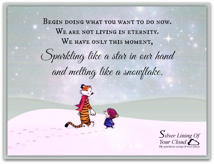 """Begin doing what you want to do now. We are not living in eternity. We have only this moment, sparkling like a star in our hand-and melting like a snowflake."" ~ Francis Bacon, Sr.  Image Calvin and Hobbes    _More fantastic quotes on: https://www.facebook.com/SilverLiningOfYourCloud  _Follow my Quote Blog on: http://silverliningofyourcloud.wordpress.com/"