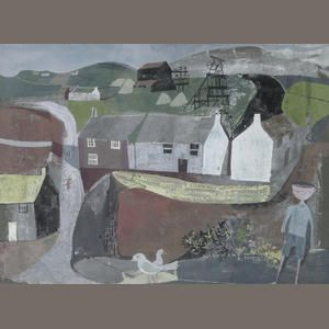 John Minton (British, 1917-1957) Cornish mining village 27.5 x 37.5 cm. (10 3/4 x 14 3/4 in.)
