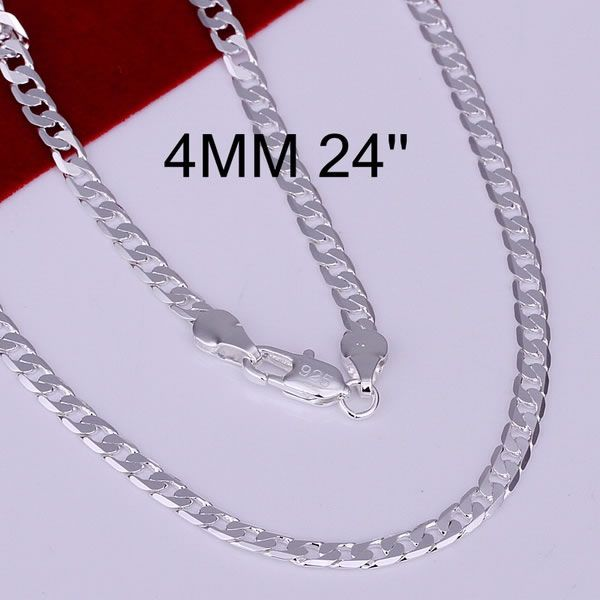 Hot! free shipping wholesale 925 silver necklace, 925 silver fashion jewelry 4mm Necklace-24 inches N132-24 $1.76