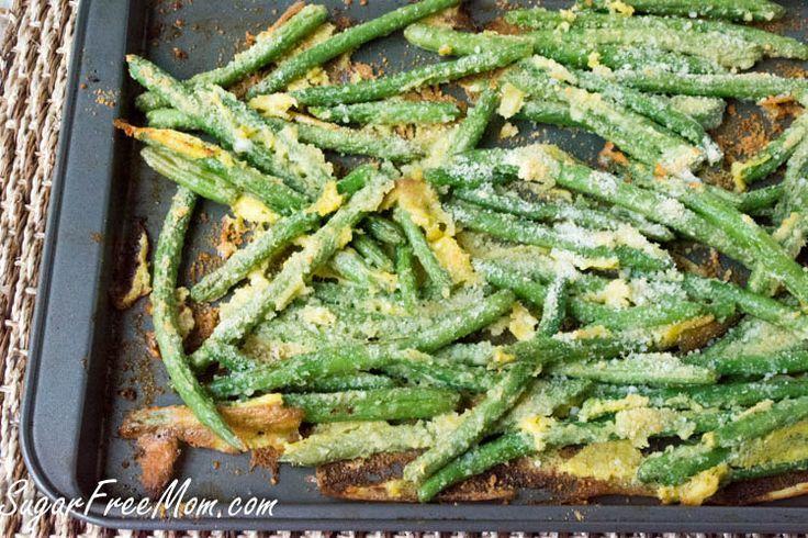 Oven Fried Garlic Parmesan Green Beans. Vegetarian. Gluten Free