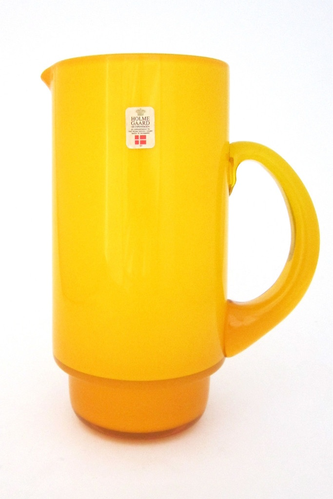 "Holmegaard, Denmark - vintage yellow cased glass ""Palet"" pitcher by Michael Bang"