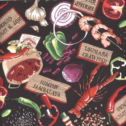 fabric - Cajun Food Fabric Food-themed fabric: Louisiana Crawfish, Jambalaya, lobster, and ...