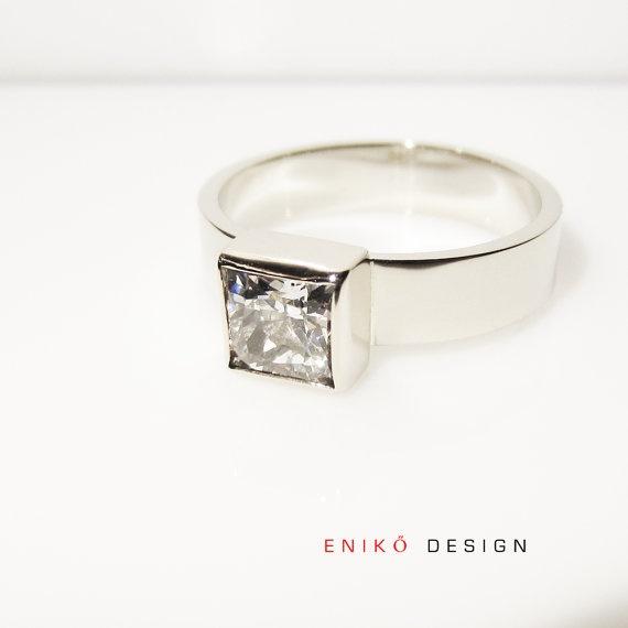 Elegant Princess cut Diamond Engagement ring by enikodesign, $1500.00