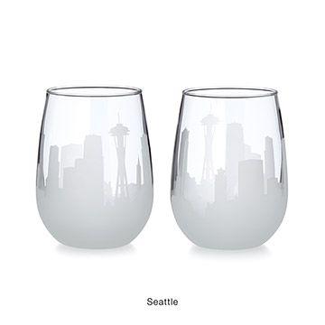 Etched Skyline Wine Glasses - Set of 2