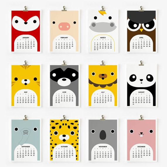 2014 Calendar Cute Animal 4 x 6 par loopzart sur Etsy
