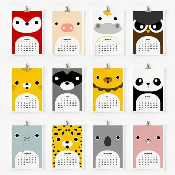 2014 Calendar Cute Animal 4 x 6 par loopzart sur Etsy