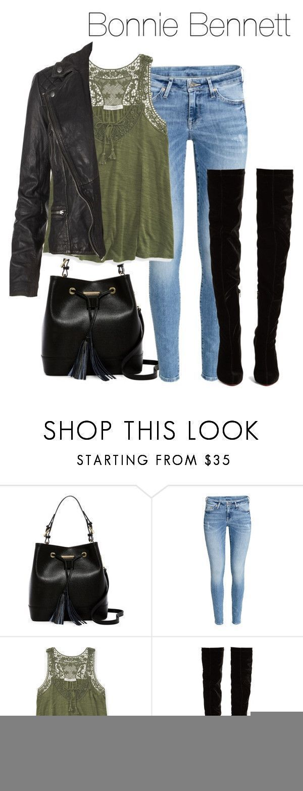 Bonnie Bennet outfit with high heeled boots - tvd / the vampire diaries by shadyannon ❤ liked on Polyvore featuring Renata Corsi, HM, Aéropostale, Christian Louboutin and AllSaints #brianatwoodheelsfashion #charlotteolympiaheelsoutfit