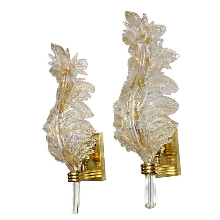 Antique Leaf Wall Sconces : Pair Barovier Murano Italian Glass Rugiadoso Leaf Wall Sconces Antiques, Furniture and Sconces