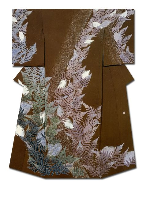 Fern Kimono created by Hinai Shunko. NHK Kyotohosokyoku length Prize. 32nd Annual Meeting of the Japanese textile artist Exhibition award work Japan kimono Japan