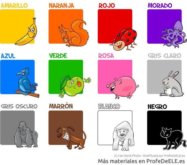 Ficha para aprender los colores en español. Más materiales en www.profedeele.es