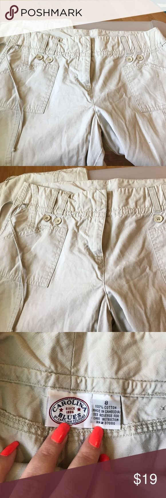 Carolina blues khaki capris. Size 8 Size 8 khaki capris, has drawstring belt that ties on size. With pockets and button detail, very cute carolina blues Pants Capris