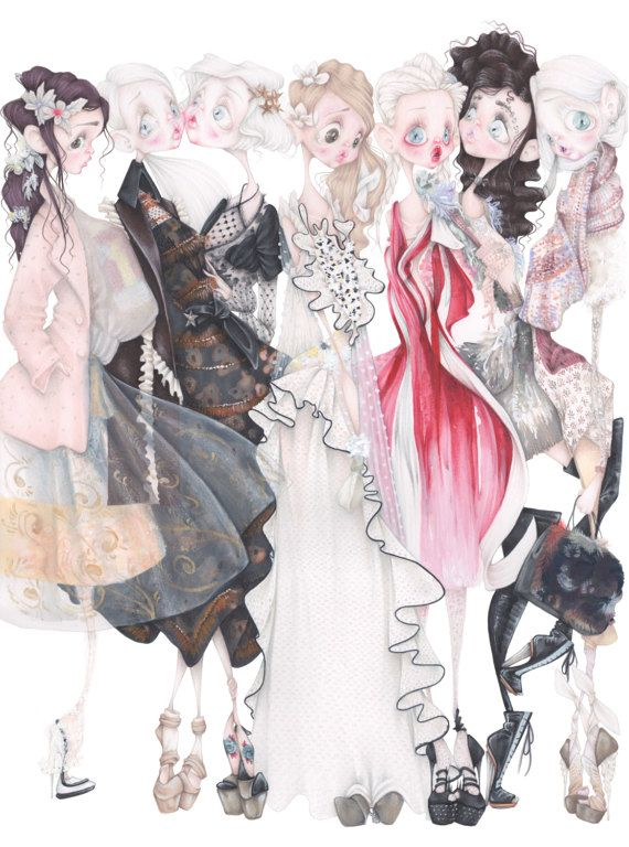 Rodarte pop surrealism gothic fashion illustration art print
