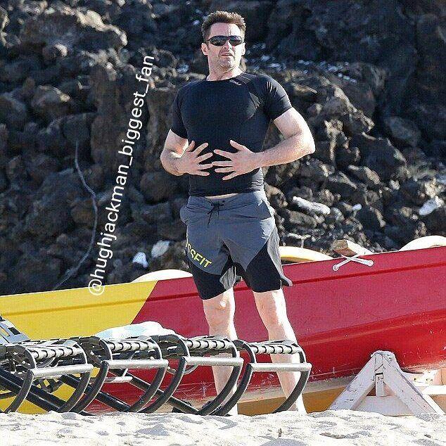Hugh Jackman on the beach of Hawaii  #thehughjackman #hughjackman #actor #hollywood #australian #sexiestmanalive #man #musical #dancer #singer #talent #famous #unbeatable #beautiful #hot #goodlooking #handsome #cool #warmhearted #friendly #attractive #fit #hawaii #beach #beachboy #sunglasses #fashion #muscles