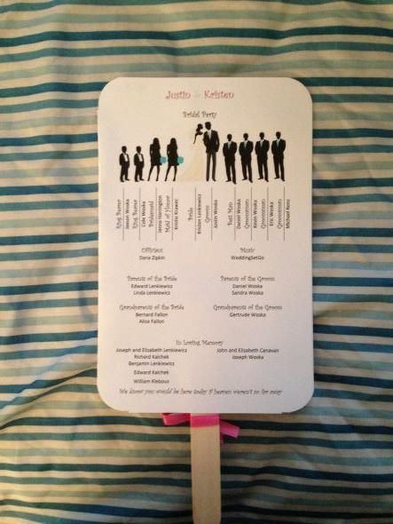 DIY Program Fans :  wedding bridal party silhouette diy fans mad tea party pink program fans programs purple teal Program Back