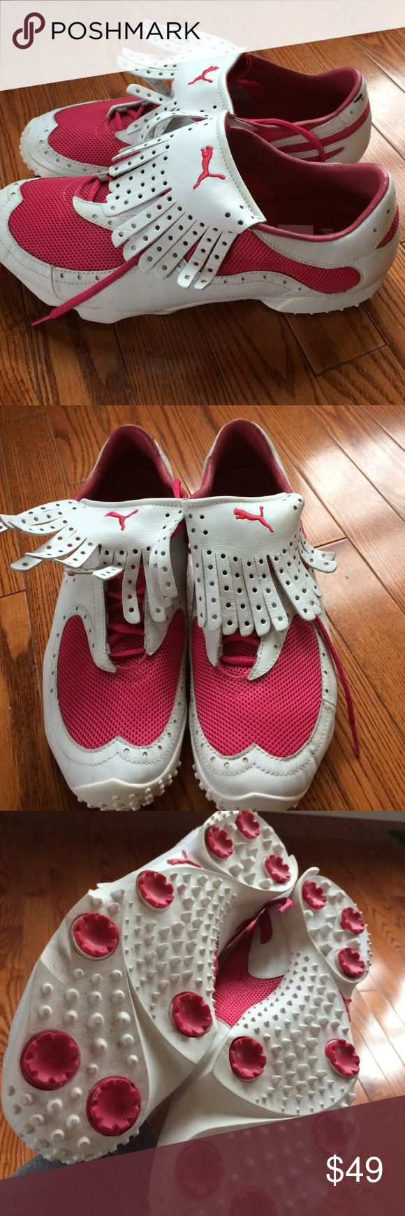 Puma Ladies golf shoes Pretty in pink!!!! Practical, lovely, ladies golf shoes. Brand NWT. Size 10.5. Leather upper and liner with textile. Rubber soles. Puma Shoes