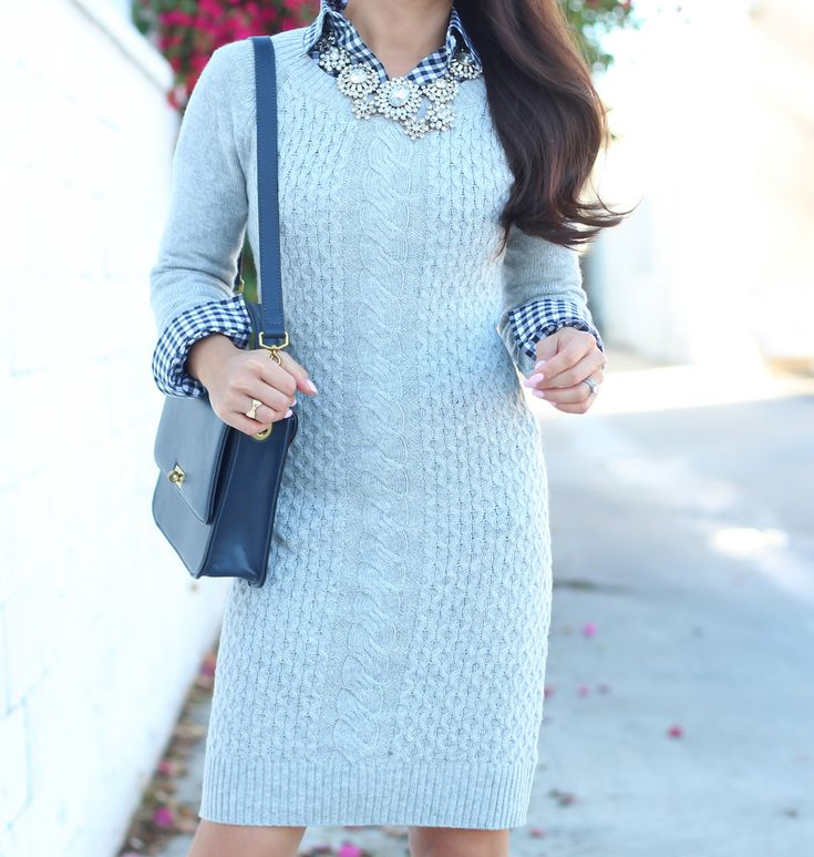 Mossimo Long Sleeve Cable Sweater Dress and Gingham-6