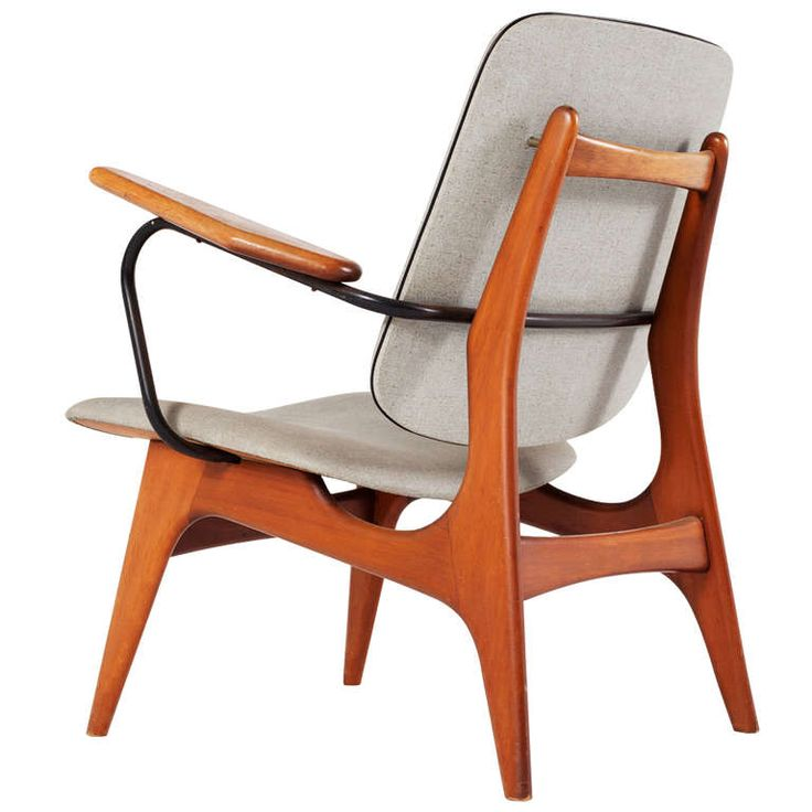 Anonymous; Teak and Painted Tubular Metal Armchair, 1950s.