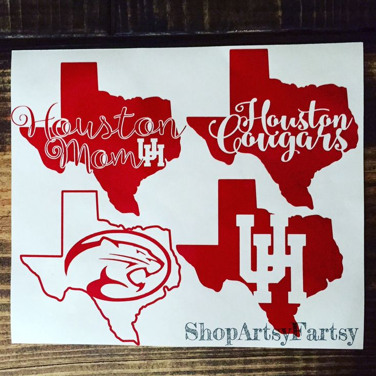 University of Houston Decal Houston Cougars Decal Art by ShopArtsyFartsy on Etsy https://www.etsy.com/listing/270425254/university-of-houston-decal-houston