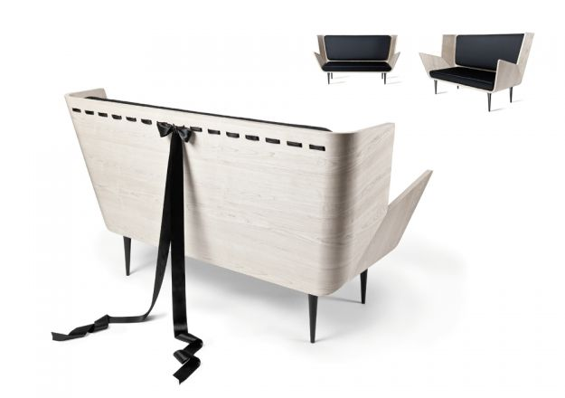 Modesty sofa, 2010, prototype by Nika Zupanc Description: nature canadian maple, satin upholstery, aluminium legs