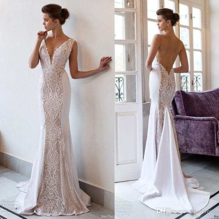 White Backless Lace Mermaid Wedding Dresses 2018 V Neck: Riki Dalal 2018 Mermaid Vintage Wedding Dresses Backless