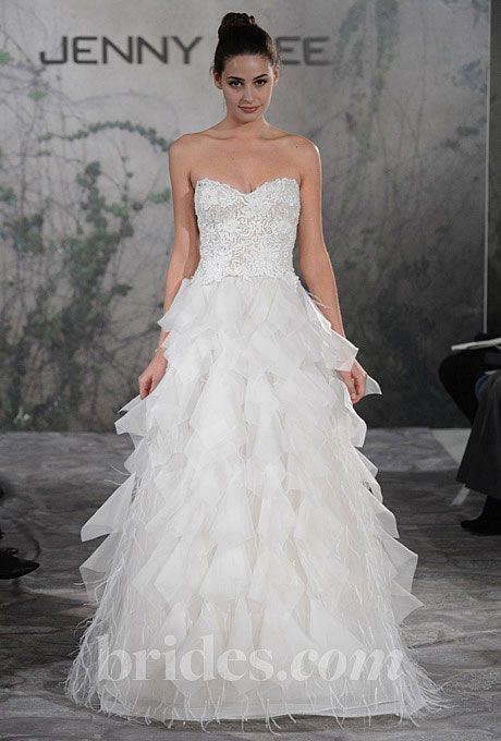 Brides.com: Fall 2013 Wedding Dress Trends. Trend: Sweet Romantic Wedding Dresses. Gown by Jenny Lee  See more Jenny Lee wedding dresses in our gallery.