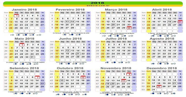 Calendário 2018 online com feriados nacionais - Brasil. Calendário2018 com feriados nacionais - Brasil, páscoa, carnaval e datas comemorativas e fases da lua.