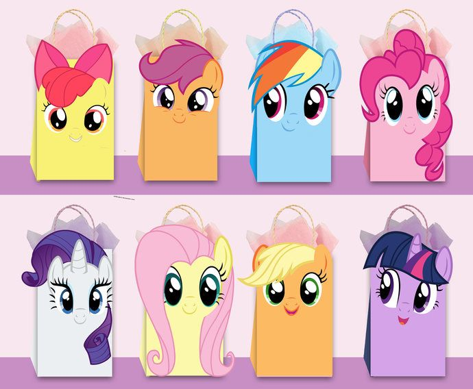 My Little Pony Diy Favor Bag Template My Little Pony Party Bags