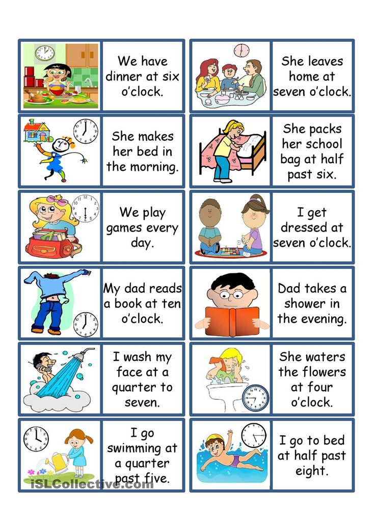Daily Routine ESL Game. ESL powerpoint worksheet of the day on April 20, 2015 by plaguemonkey. Can be played with 2-6 players. Divide the cards between the players. Choose 1 student to lay the first card. The student who has the picture to match the sentence on the laid card places their card next to the previous card (like dominoes). The winner is the first person to use all their cards.