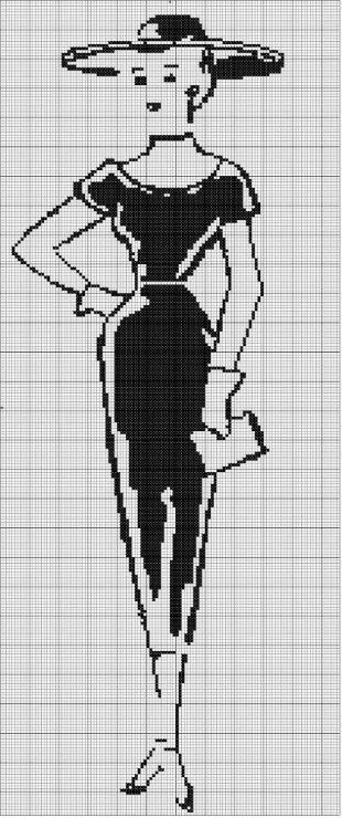 0 point de croix femme en noir - cross stitch elegant lady in black