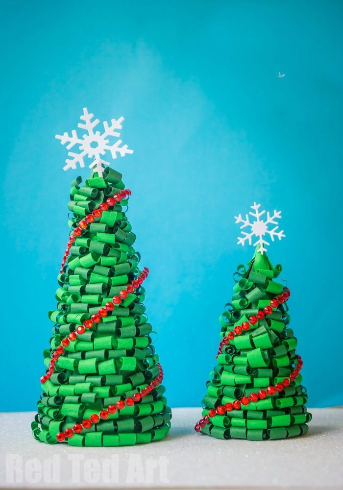 How To Make A Quilled Christmas Tree Centre Piece Red Ted Art Christmas Tree Decorations Diy Easy Crafts For Kids Christmas Tree Decorations For Kids
