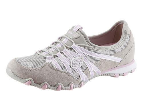 #SKECHERS #Damen #Slipper #grau - Skechers Slipper aus Leder und Textil. Schuhweite: normal (Weite F).