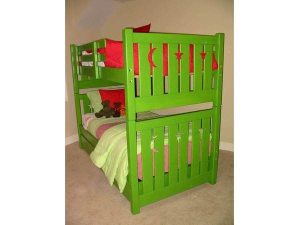 Kid-tough solid wood bunk beds with moons & stars. Various sizes available. Custom built by hand. You choose the best finish and options for your room.