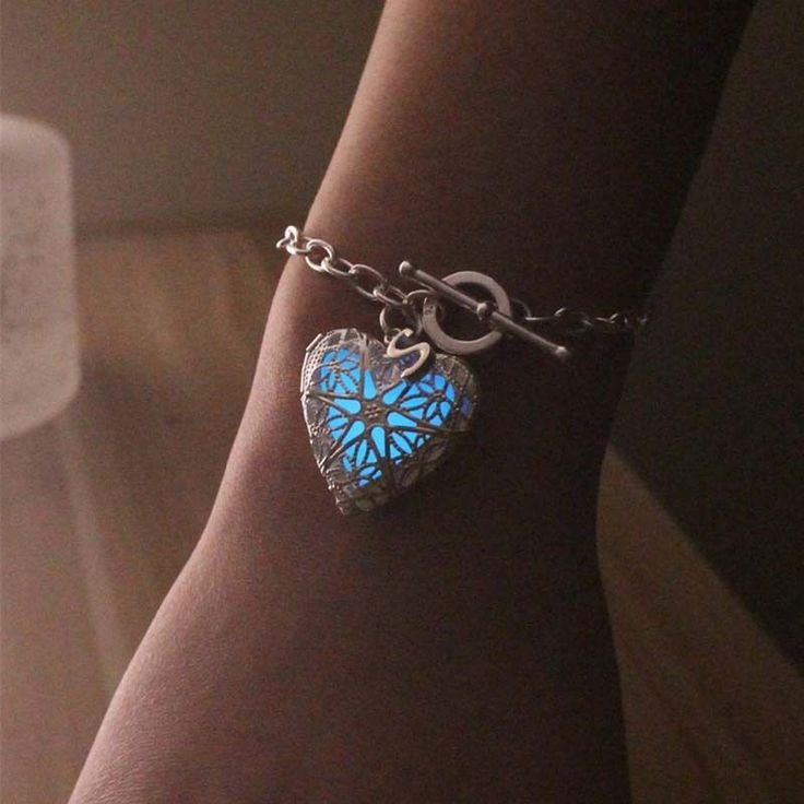 Glowing Heart Bracelet,Locket Bracelet,Silver Plated Jewelry,Glow In The Dark #glowingbracelet #Locket