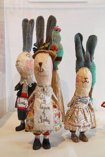 Julie Arkell, paper mache dressed rabbits