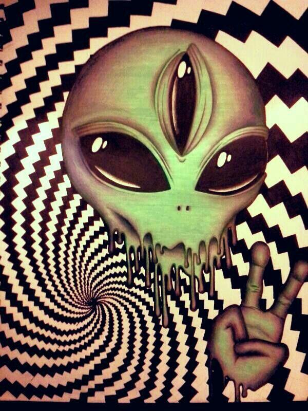 #alien #peace #sign #trippy #drawing - Jayda Jumper