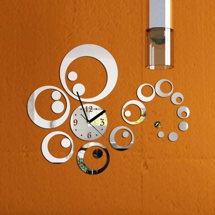 Всего 6 номеров Искусство Современная Роскошь DIY Съемный 3D Кристалл Зеркало Настенные Часы Стикер Стены Гостиная Спальня Декор