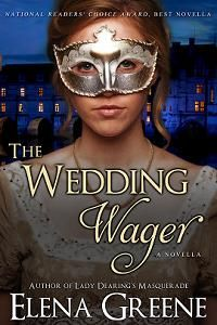 THE WEDDING WAGER ~ To convince his trustees he is responsible enough to manage his estates, rakish Julian Ardleigh, Viscount Debenham, plans to marry his childhood friend, Harriet. Since her one disastrous London Season, she has lived quietly in the country breeding horses and has no wish to marry. When Julian persists, she challenges him to prove he can be faithful, but neither gambles on losing their hearts!