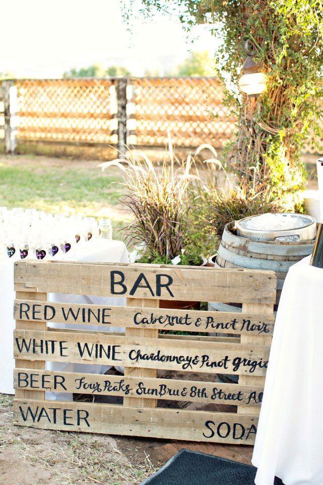 kegs in wine barrels, mason jars, and pallet menus