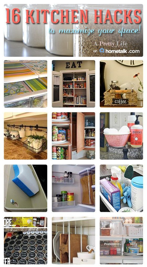 121 best life hacks images on pinterest home good ideas for Small kitchen organization hacks