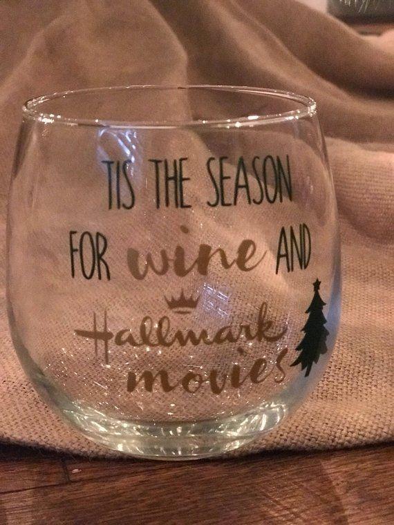Christmas Gift Christmas Wine Glass Stemless Wine Glass Tis The Season Wine Gift Christmas Gift For Her Christmas Time