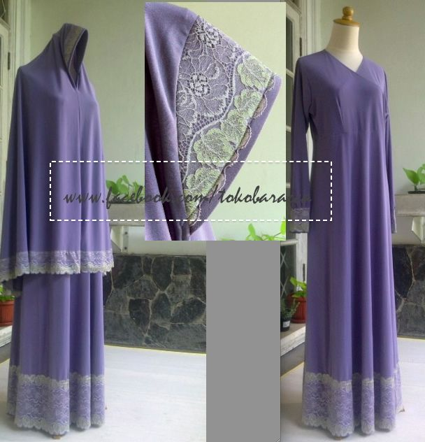 gamis jersey with lace application  425,000 size M