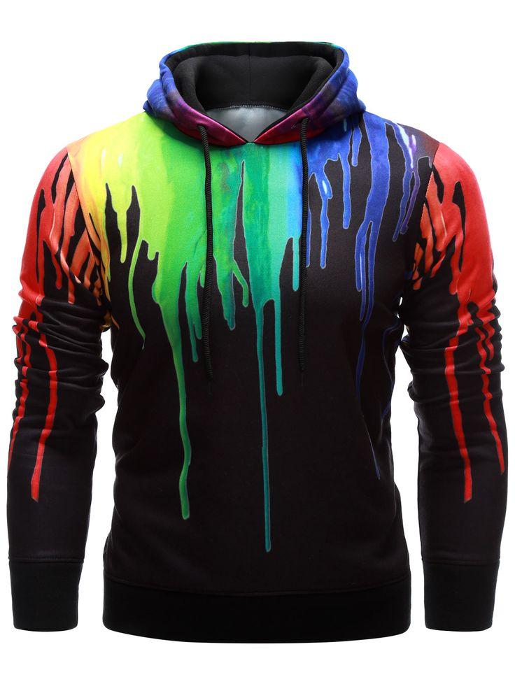 $20.14 Drawstring Paint Dripping Hoodie