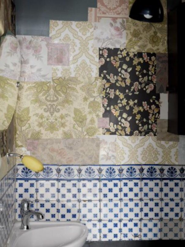 "This funny combination of wallpaper and tiles is from our feature ""Limited Editions"""