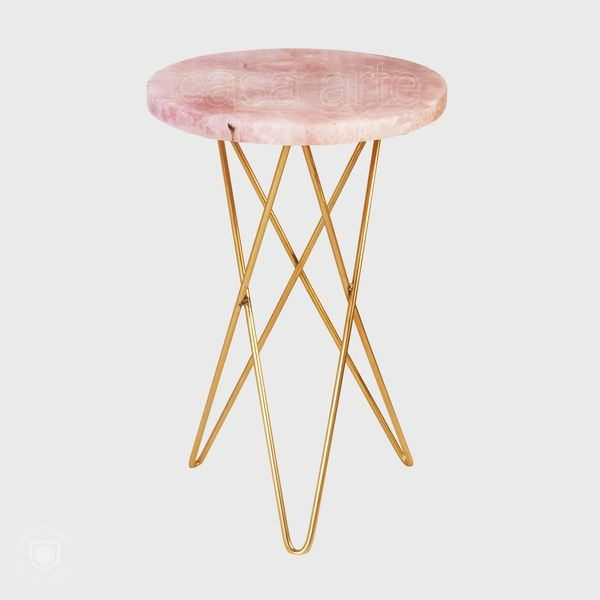 Rose Quartz Side Table Golden Hairpin Legs Side Table Rose Quartz Table