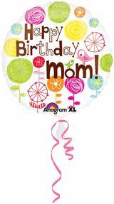 18 inches Happy Birthday Mom Foil Balloon