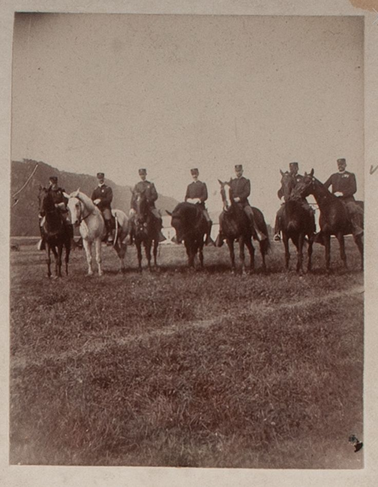 Battle of Sugar Point, Leech Lake Indian Reservation, 1898. View of Captain Bennett and 1st Lieutenant Bruce with others, mounted on horseback at Camp Lakeview, August 1898; Cowans, 11/18/2016 - American History.