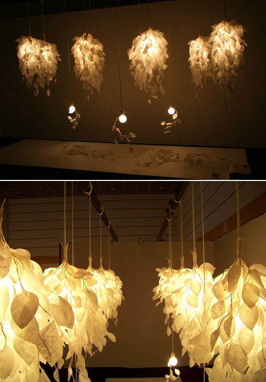 paper lamp shades. i like this design as i like the idea of having paper leave layered multiple times.